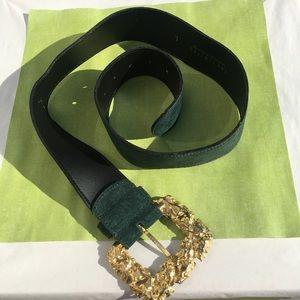 The Limited Green Leather Gold Rosette Buckle Belt